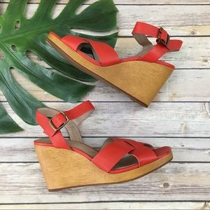 Madewell Drea red leather wedge sandals